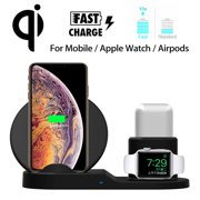 Wireless Charger, 3in1 QI Wireless Fast Charging Dock Station Phone Stand Mount for Apple Watch Series 4/3/2/1, for iPhone 11 Pro Xs/XS MAX/XR/X/8/8 Plus, for AirPods
