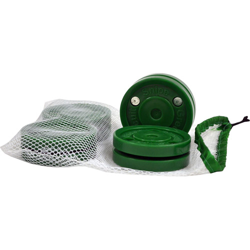 Green Biscuit Snipe Pucks, 4-Pack with Mesh Bag
