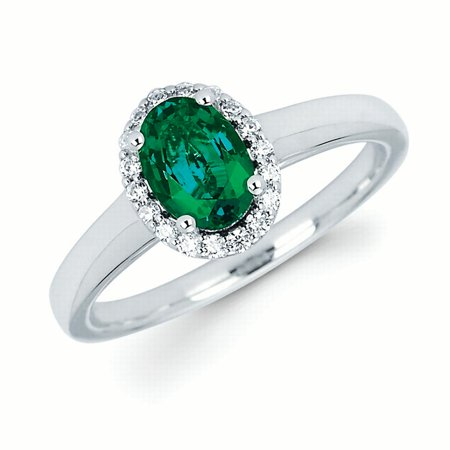 14k White Gold Emerald and .12 Cttw. Diamond Oval Halo Gemstone Ring Ct Tw Diamond Emerald Ring