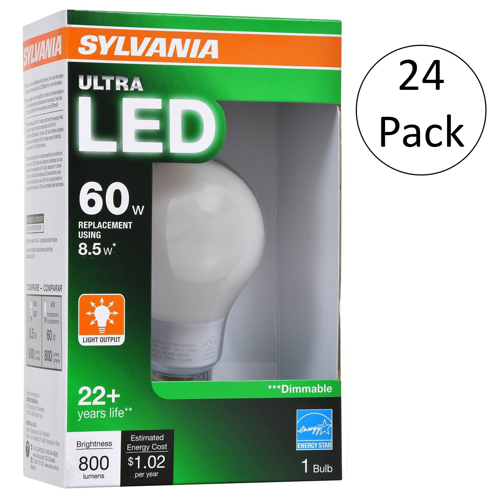 Sylvania Ultra 60W 2700K Dimmable Soft White Energy Star LED Light Bulb, 24 Pack