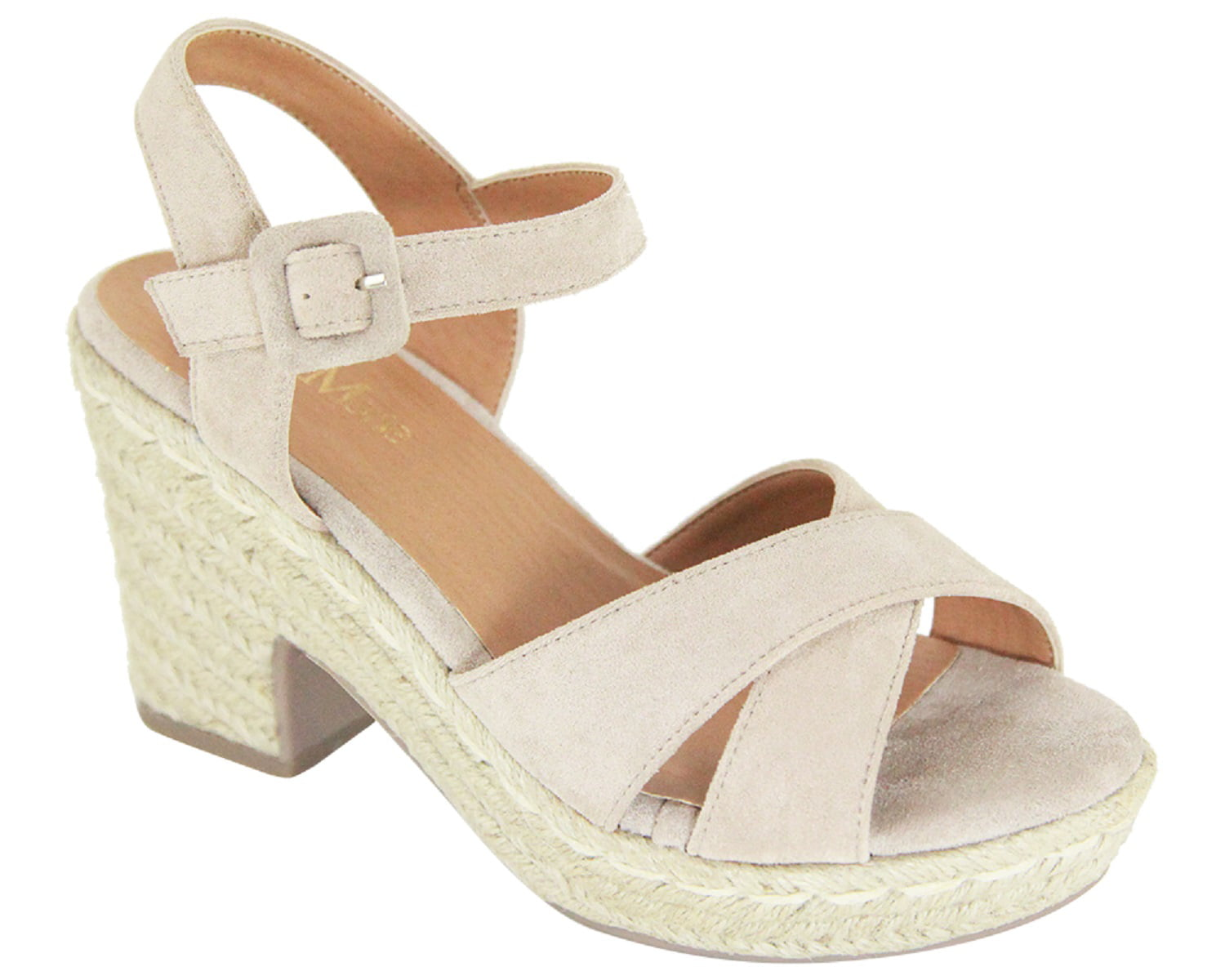 a226fb36028 Deck-3 Women Strappy Mary Jane Espadrille Platform Low Block Heel Open Toe  Sandal Yellow - Walmart.com