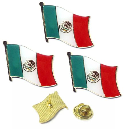 3 Pc Mexico Flag Lapel Pin Support Patriotic Enamel Badge Hat Tie Mexican Flag