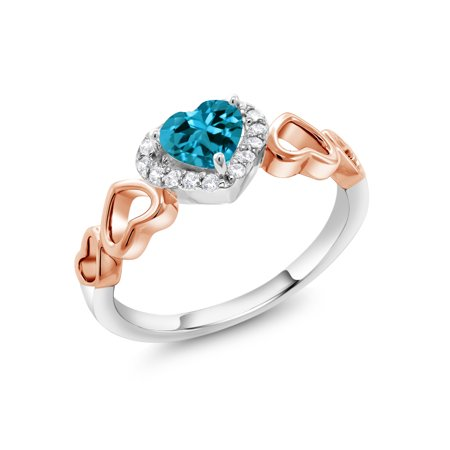 0.71 Ct Heart Shape London Blue Topaz 925 Sterling Silver and 10K Rose Gold Ring (Rose Gold London Blue Topaz)