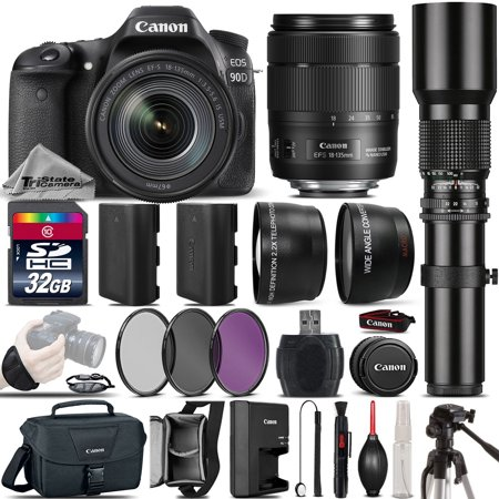 Canon EOS 90D DSLR Camera + Canon 18-135mm IS USM Lens + 500mm preset Zoom Lens+ 2.2x Telephoto Lens + 0.43X Wide Angle Lens + Backup Battery + UV-CPL-FLD Filter