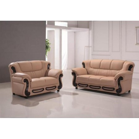 Maxwest C153-CM Modern Camel Genuine Leather Sofa and Loveseat Set 2 Pcs