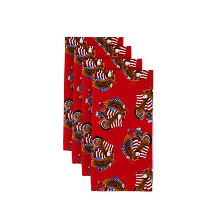 Fabric Textile Products American Bald Eagle & Motorcycle Red Napkins 18