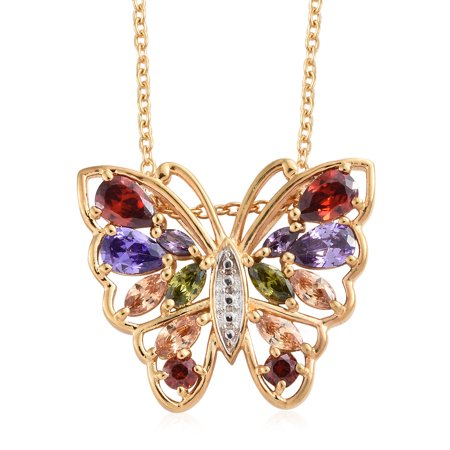 KARIS Collection Stainless Steel 18K Yellow Gold ION Plated Purple Cubic Zircon Cubic Zircon Garnet Butterfly Pendant Necklace for Women Jewelry Gift Size 20