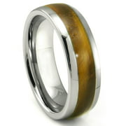 Titanium Kay Tungsten Carbide Tiger Eye Inlay Dome Comfort Fit Mens Wedding Band Ring Sz 10.0