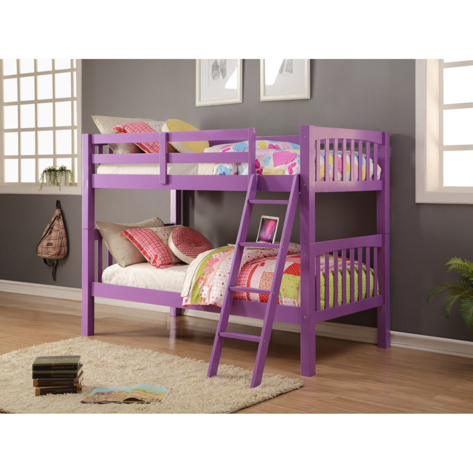 Donco Grapevine Twin over Twin Bunk Bed - Grape