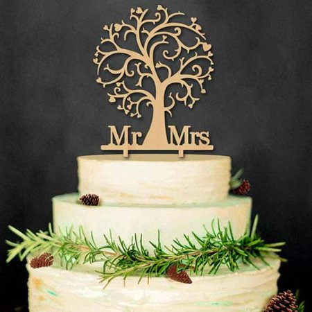 Tayyakoushi Romantic Mr and Mrs Cake Topper Wood Cherry Blossom Tree ...