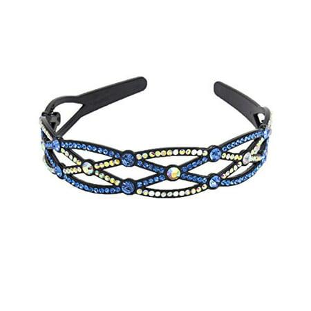 Yeshan Rhinestone Beaded Handmade Headband,Hairband for Girls,Blue and ab white - image 1 de 1