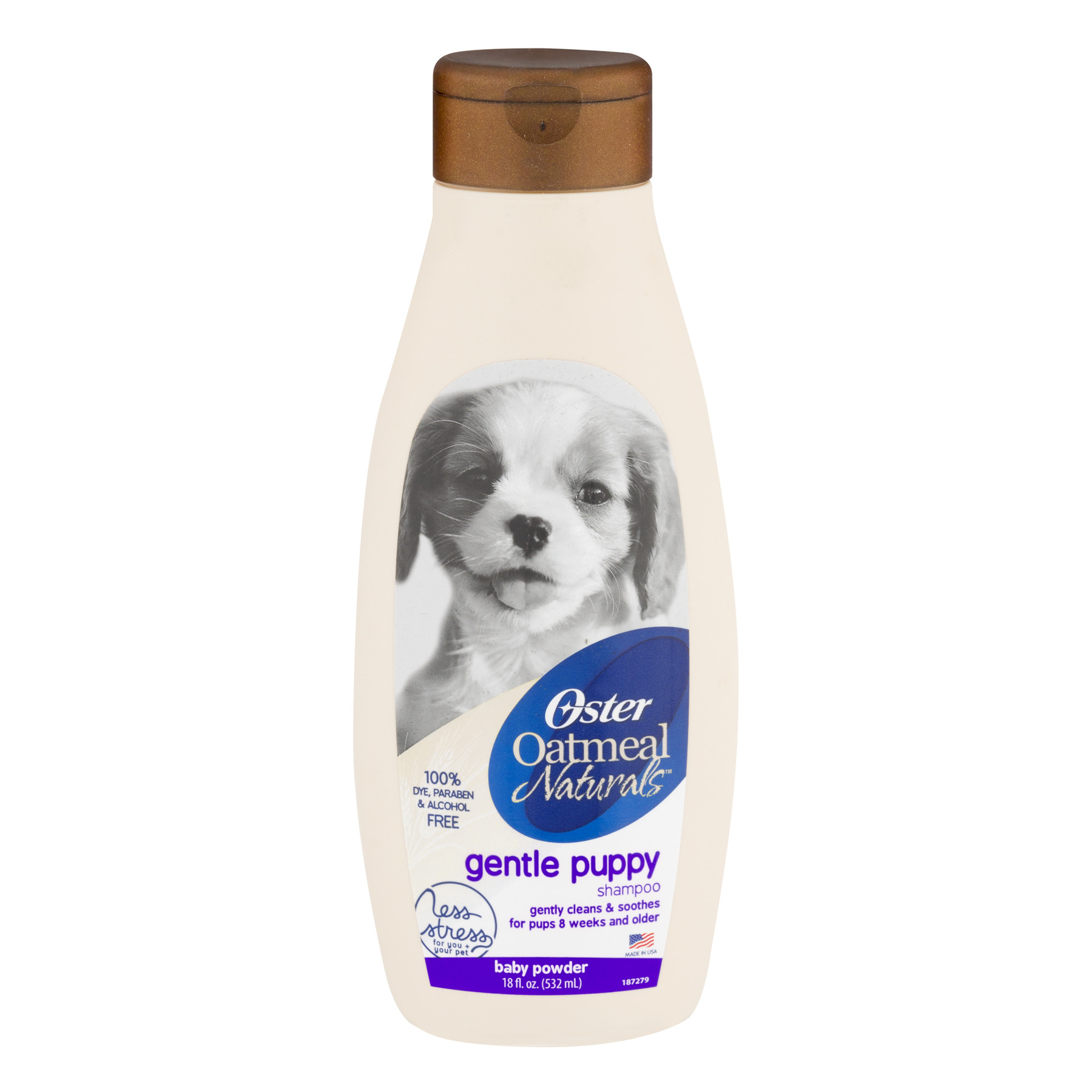Oster Oatmeal Naturals Gentle Puppy Shampoo, Baby Powder Scent, 18 Fluid Ounces (078590-145-000)