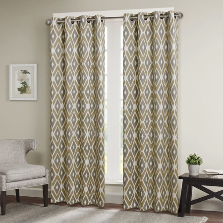 "Ashlin Diamond Printed Window Curtain Taupe 84"" Panel"