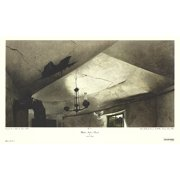 """ANDREW WYETH Mother Archie's Church 19.25"""" x 32"""" Poster Modernism Black & White Bird, Abandoned, Ceiling, Window"""