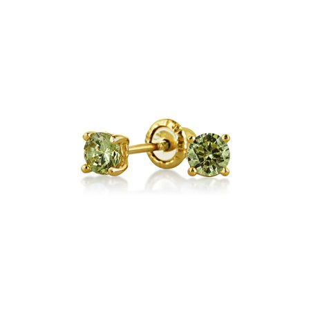 - Tiny Cubic Zirconia Olive Green Simulated Peridot CZ Round Solitaire Stud Earrings Real 14K Yellow Gold Screwback