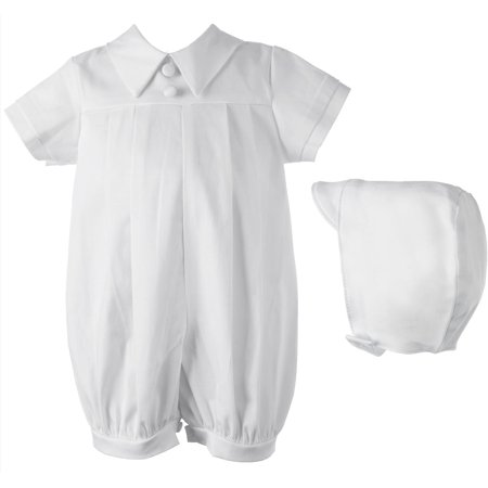 Christening Baptism Newborn Baby Boy Special Occasion Cotton Short Romper & Matching Hat for $<!---->
