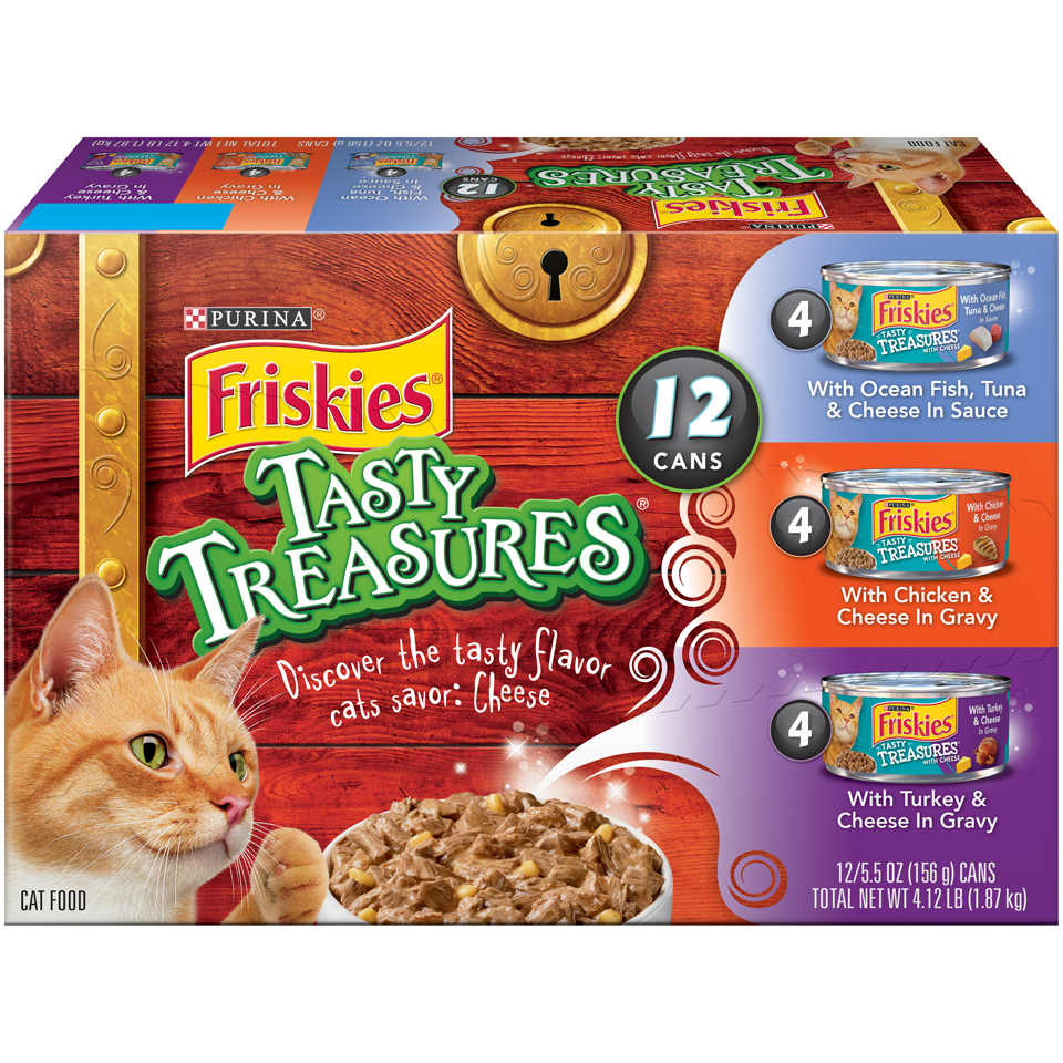 Purina Friskies Tasty Treasures Wet Cat Food Variety Pack - (12) 5.5 lb. Cans