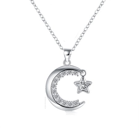 Quality Silver Plated (Moon and Star Pendant Necklace Silver Plated With Quality Crystals Jewelry)