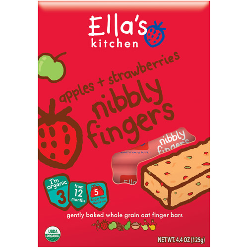 Ella's Kitchen Organic Apples & Strawberries Nibbly Fingers, Stage 3 Baby Food