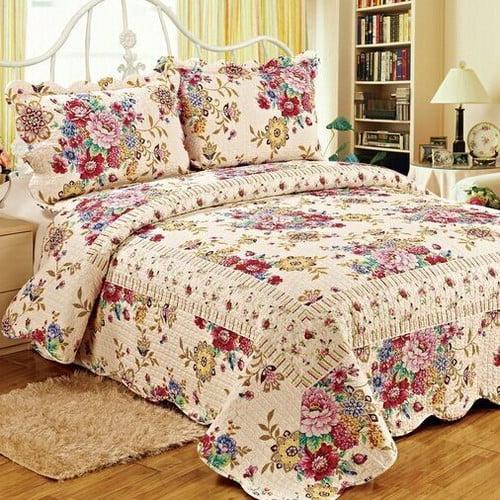Tache Home Fashion 3 Piece Reversible Quilt Set