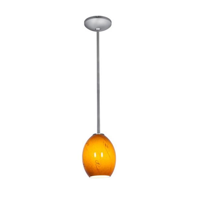 Access Lighting 28023-1R-BS-ASKY 6 in. Janine 1 Light Brushed Steel Pendant Ceiling Light in Amber Sky - image 1 de 1
