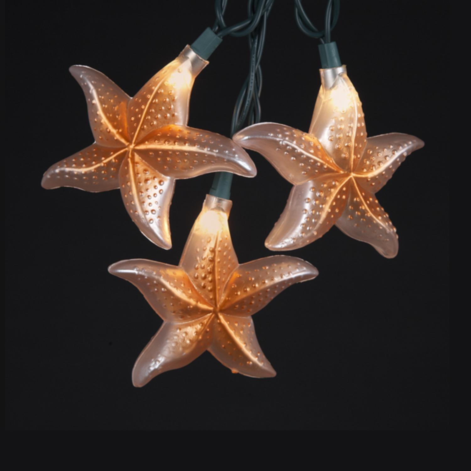 Set of 10 Under the Sea Tropical Starfish Lights - Green Wire