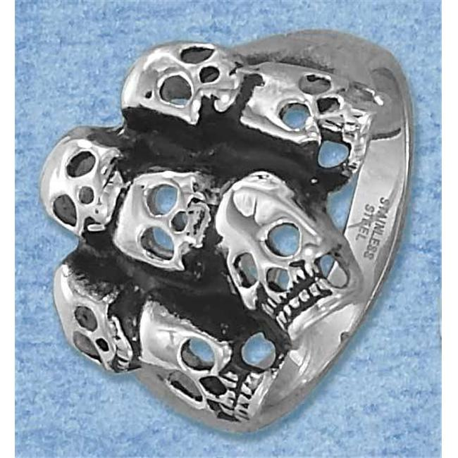 Plum Island Silver SR-3086-14 Stainless Steel Mens Antiqued Finish Multiple Skulls Ring - Size 14