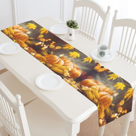 MYPOP Autumn Harvest Pumpkin Table Runner Home Decor 14x72 Inch,Thanksgiving Maple Leaves Table Cloth Runner for Wedding Party Banquet - Autumn Leaves Table Runner