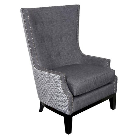 Draper High Back Linen Look Wingback Accent Chair Gray