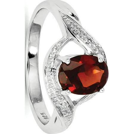 Sterling Silver Rhodium-plated Garnet & Diamond Ring - image 2 de 2
