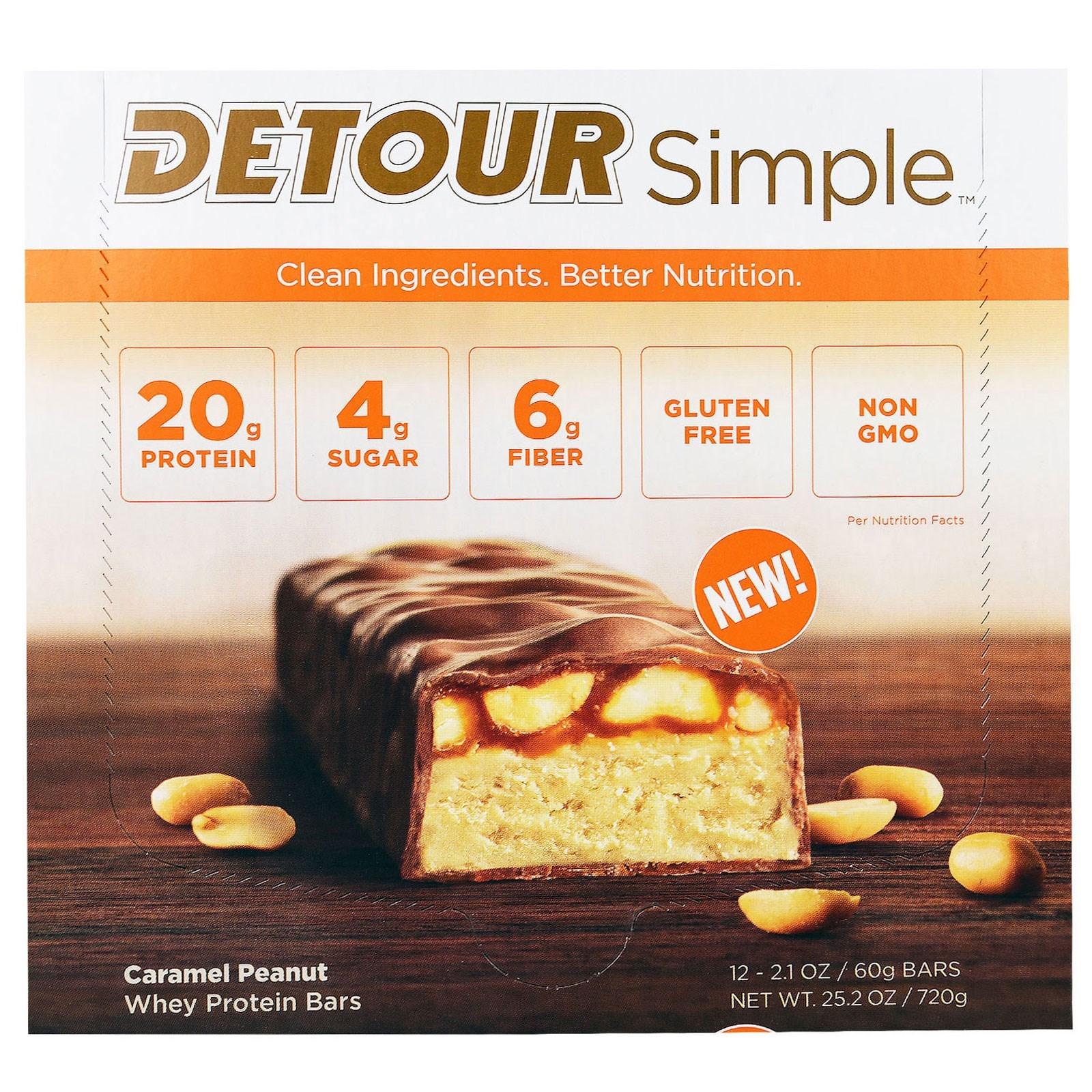 Detour, Simple, Whey Protein Bars, Caramel Peanut, 12 Bar...
