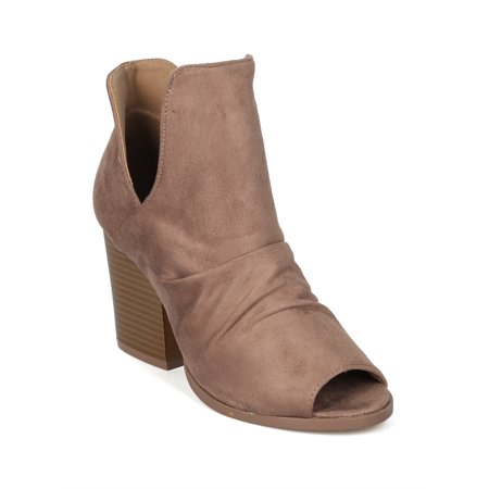 New Women Faux Suede Peep Toe Block Heel Bootie - 18072 By Yoki Collection - Heel Collection