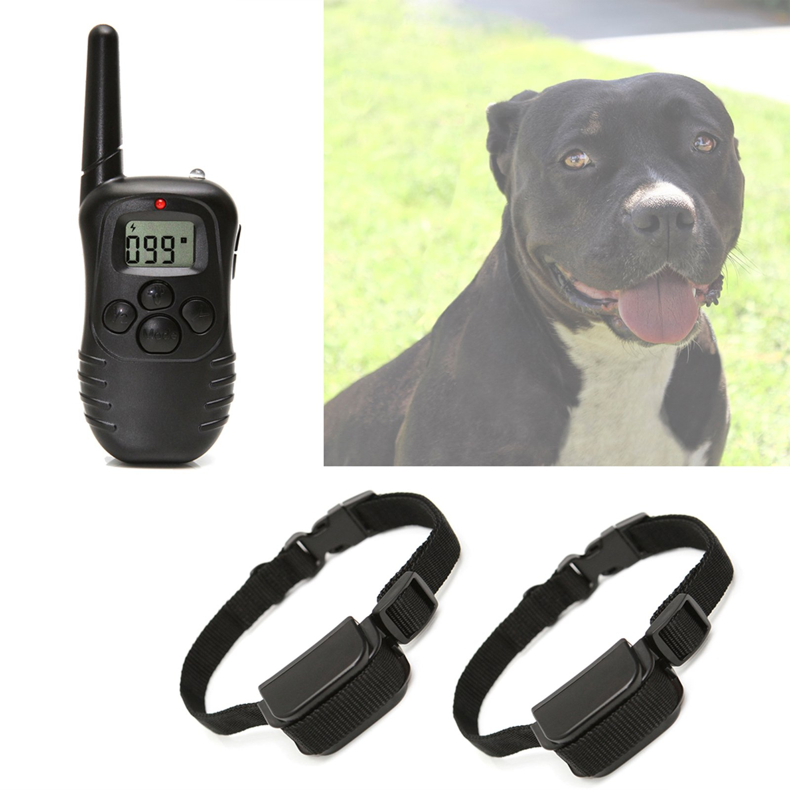 OxGord Dog Training Collar with Remote 330 Yard Radius Rechargeable LCD 100LV Shock Remote Pet Bark for Small or Large
