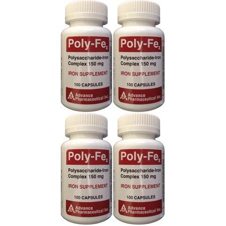 Polysaccharide Fer Complex 150 mg Capsules Supplément de fer 100 capsules par bouteille de 4 PACK