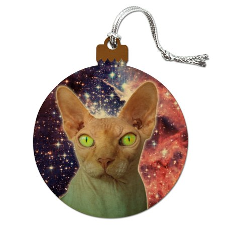 Sphynx Space Cat Wood Christmas Tree Holiday Ornament (Cat Proof Christmas Tree)