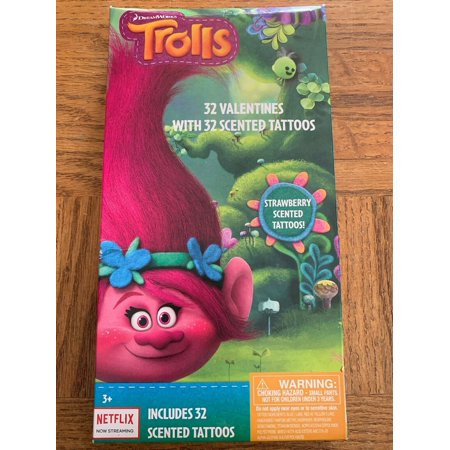 Trolls Valentines Day Cards 32 Count 32 Scented Tattoos - Valentine Tattoo