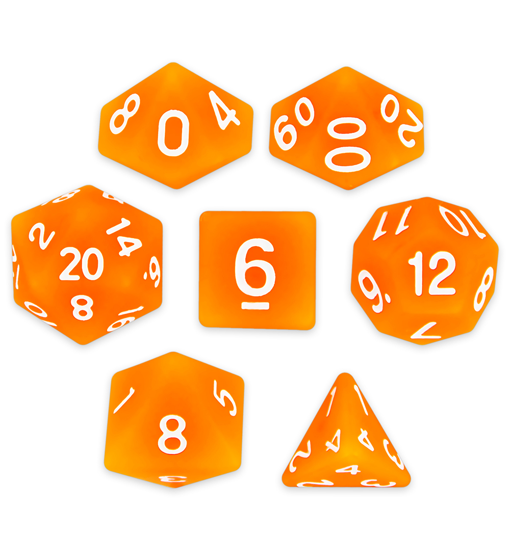 Wiz Dice Forge Embers Set of 7 Polyhedral Dice in Display Case-Orange Matte