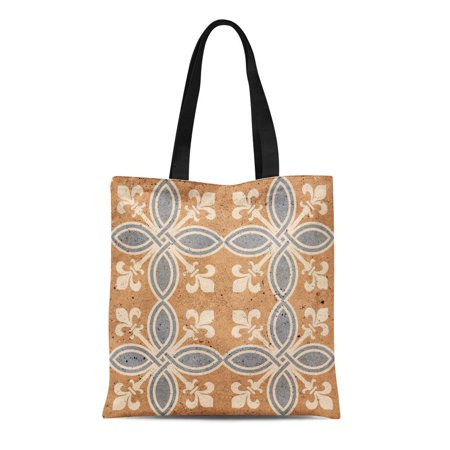 LADDKE Canvas Tote Bag Clay Floor Tiles Porcelain Ceramic Geometric Pattern for Durable Reusable Shopping Shoulder Grocery
