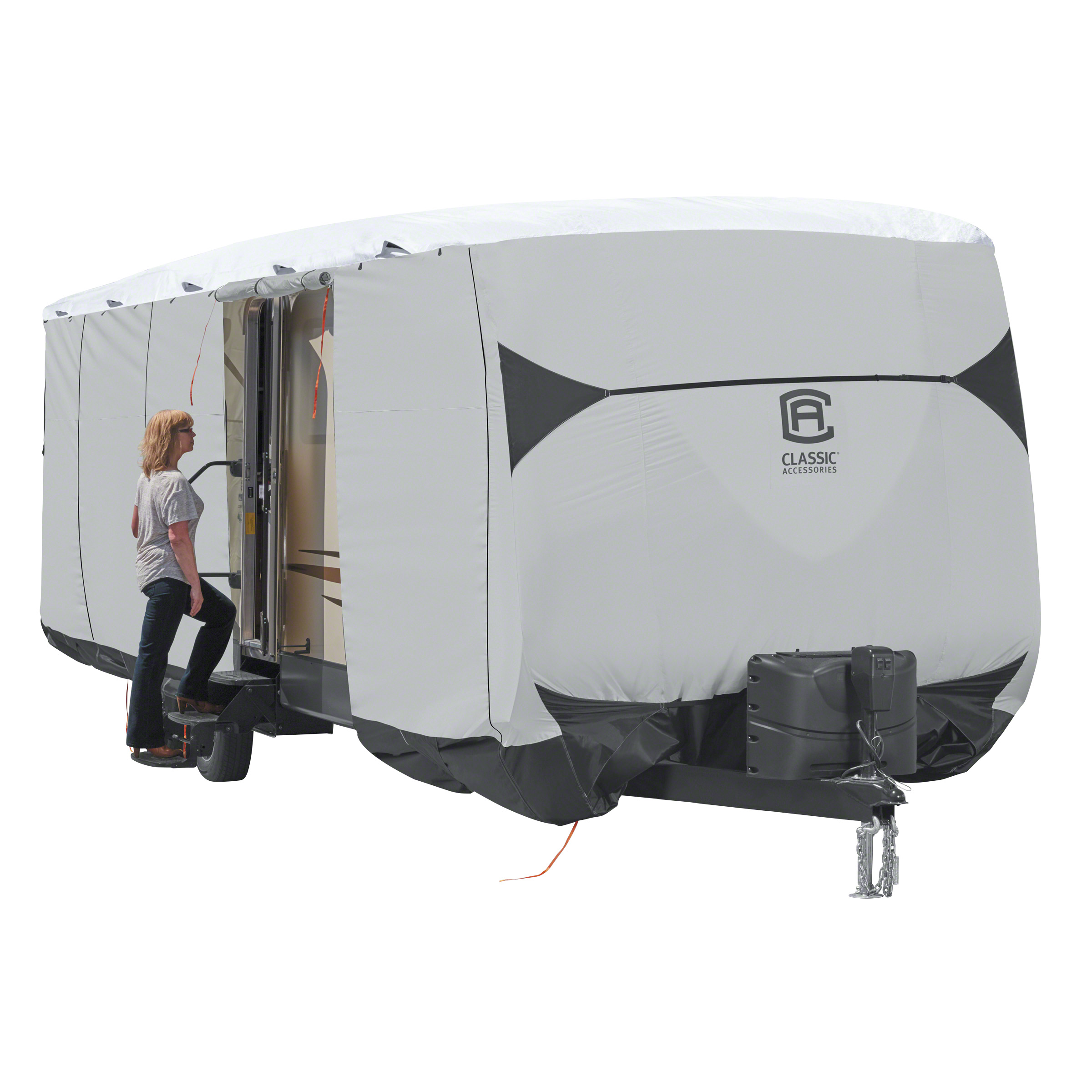 Classic Accessories OverDrive SkyShield Deluxe Tyvek Travel Trailer Cover, Fits 24' - 27' Trailers - Water Repellent Tyvek RV Cover (80-386-101701-EX) - image 1 de 2