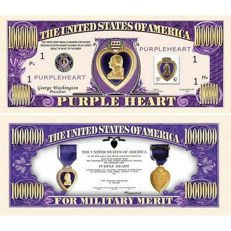 "One Dollar Silver Certificate (5 Purple Heart One Million Dollar Bills with Bonus ""Thanks a Million"" Gift Card Set )"