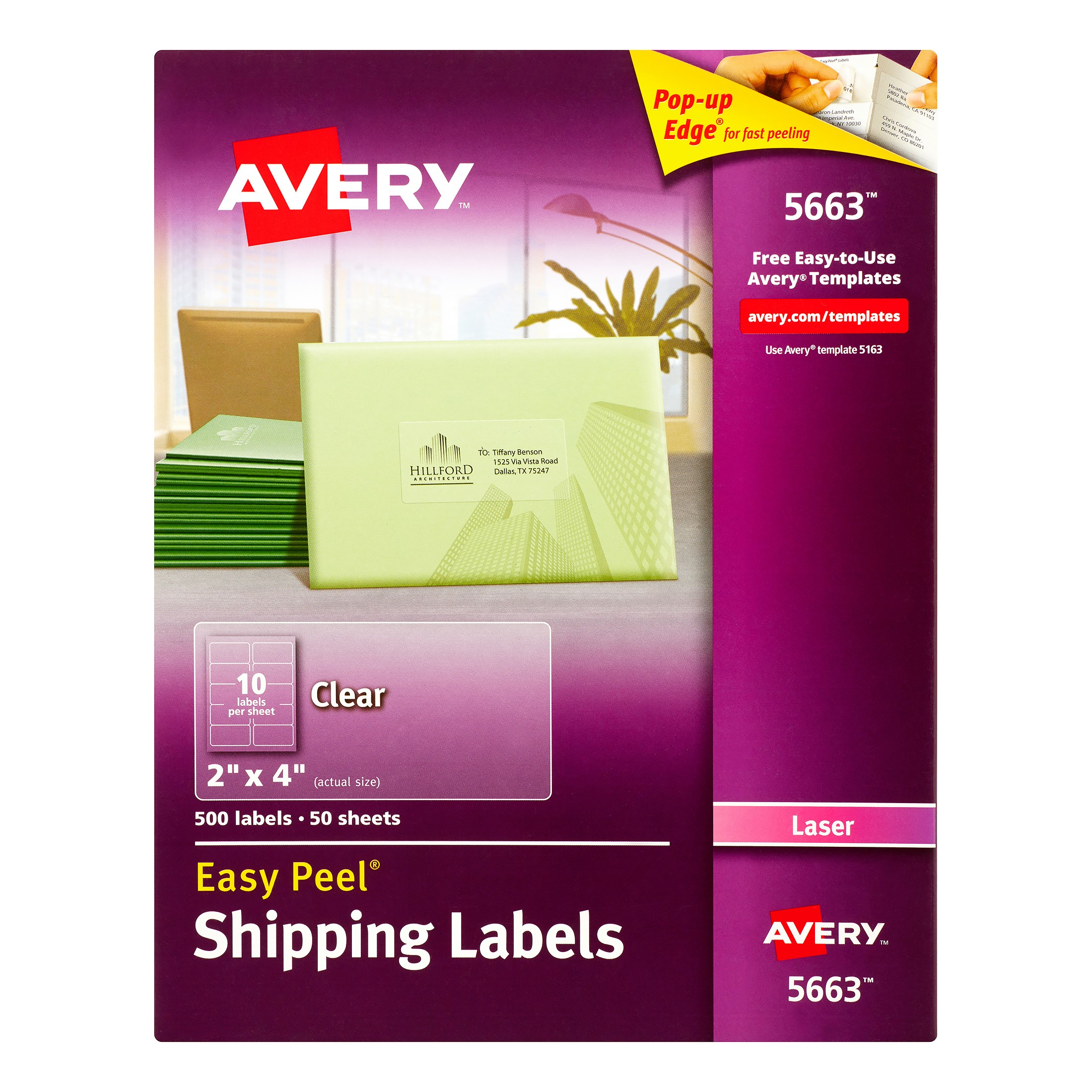 Avery Easy-Peel Shipping Labels for Laser Printers, 2 x 4 in., Clear, 500 Count (5663)