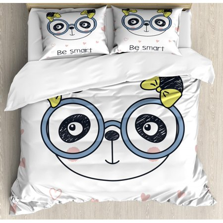 Geek Duvet Cover Set, Hand-Drawn Doodle Panda Girl Wearing Glasses on White Background with Heart Shapes, Decorative Bedding Set with Pillow Shams, Multicolor, by Ambesonne ()