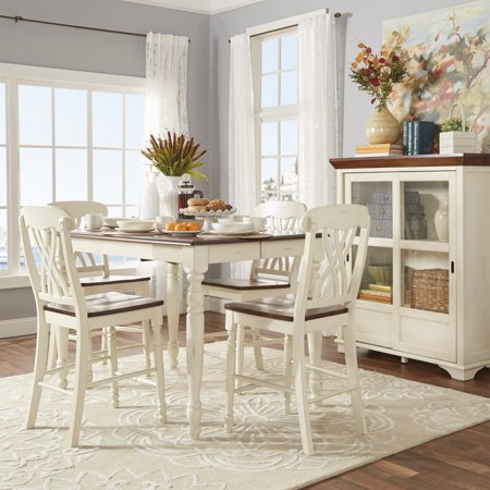 Weston Home Two Tone 5 Piece Counter Height Dining Set Antique White