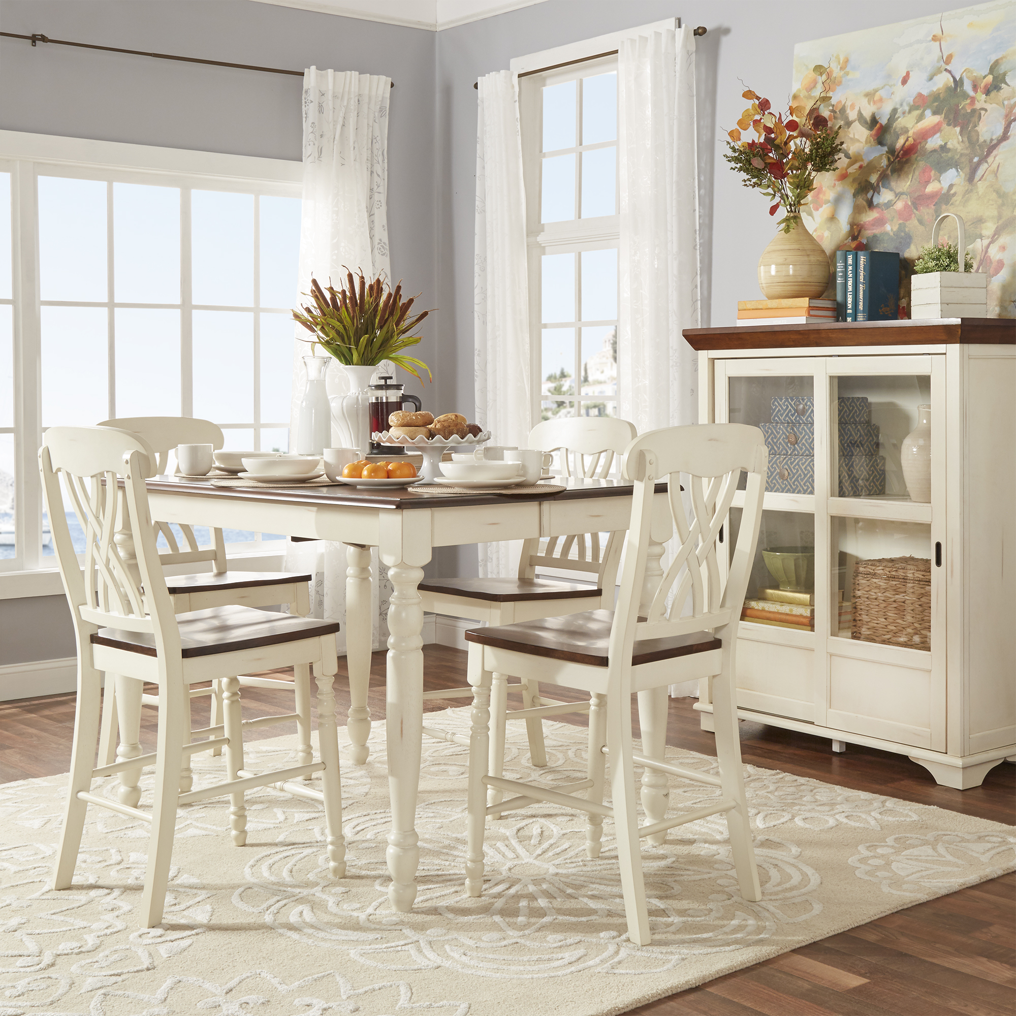 Weston Home Two Tone 5 Piece Counter Height Dining Set, Antique White