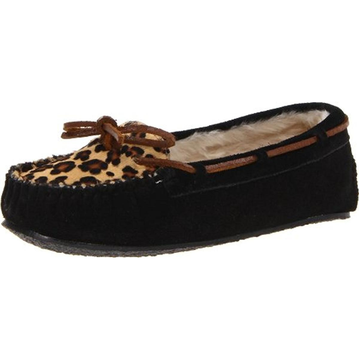 Minnetonka Womens Cally Suede Calf Hair Moccasin Slippers by Minnetonka