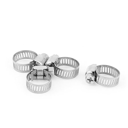 4pcs 9-16 mm Stainless Steel Fuel Air Pipe Hose Clip Clamp Silver Tone