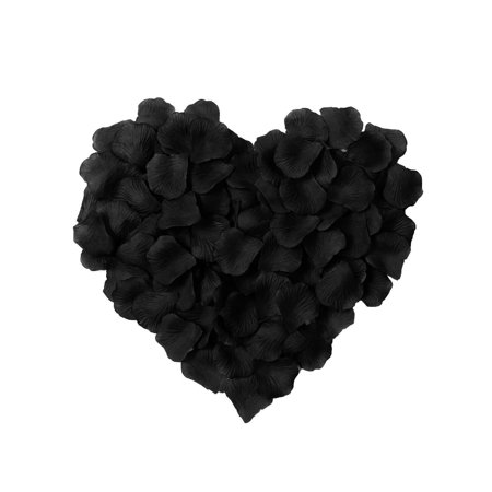 Floating Silk Rose Petals (500pcs Artificial Silk Rose Flower Petals Wedding Party Decor Bulk Black)