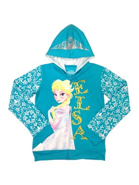 Disney Frozen Elsa Girls' Glitter Graphic Full-Zip Fleece Hooded Jacket