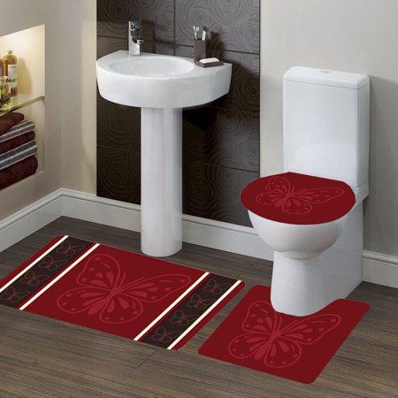 "3-PC (#7) Butterfly Burgundy HIGH QUALITY Jacquard Bathroom Bath Rug Set Washable Anti Slip Rug 18""x28"", Contour Mat 18""x18"" and Toilet Seat Lid Cover 18""x19"" with Non-Skid Rubber Back"