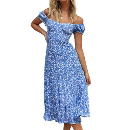 Women's Boho Summer Floral Sundress Off Shoulder Slim Swing Lace Up Midi Dress